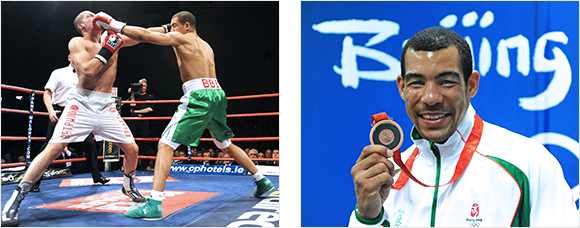2 images of the Olympic boxer Darren Sutherland