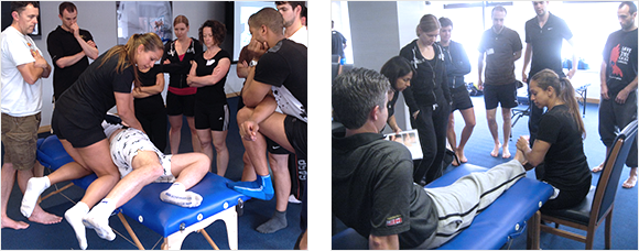 2 images of Heather Pearson teaching groups of athletes and therapists