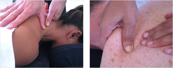 2 images - close up of lady having her neck massaged and a close up of a man having his shoulder massaged