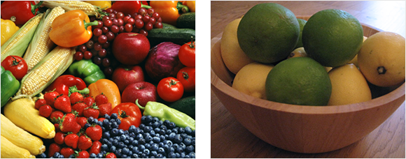 2 images - an array of fruit and vegtables and a bowl of lemons and limes