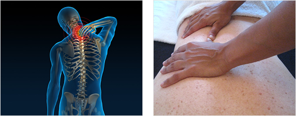 2 images - an X-Ray illustration of neck or shoulder pain, a close up of Heather Pearson treating a patient's back